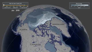 Link to Recent Story entitled: Weekly Arctic Sea Ice Age with Graph of Ice Age By Area: 1984 - 2019